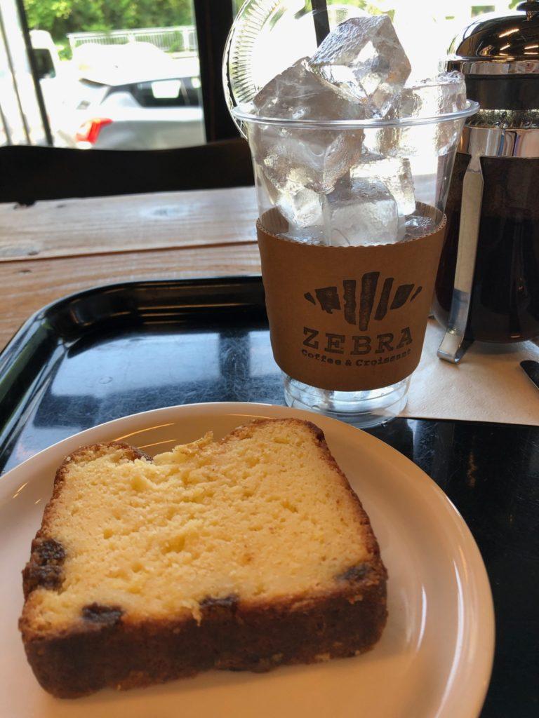 アイスコーヒー&パインケーキ
