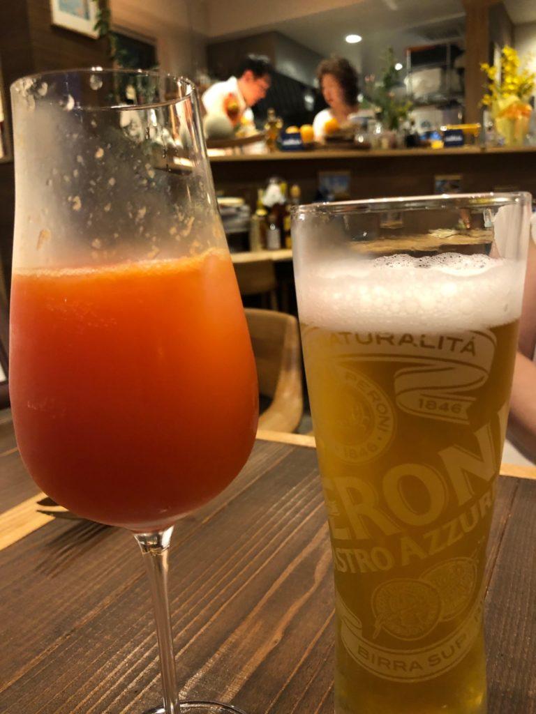 イタリアのビールとミモザ_オステリア・デル・チャオ